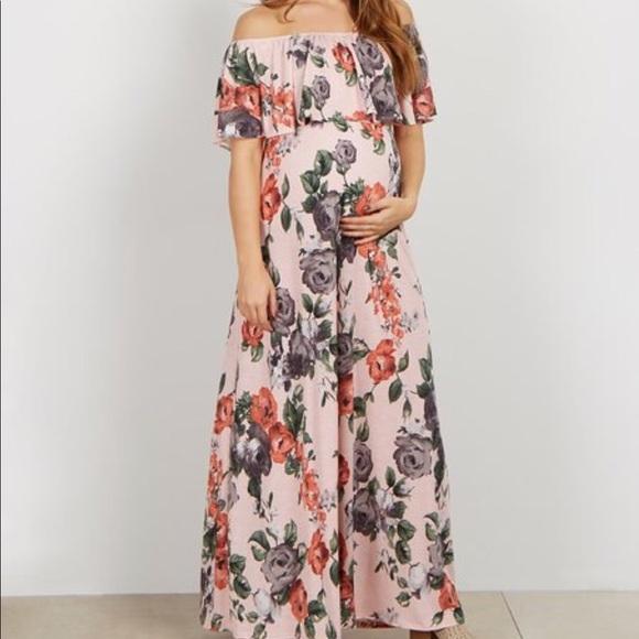 2057c82256a Pink blush maternity off the shoulder maxi dress. M 5a65546350687c1fe7c9e45b